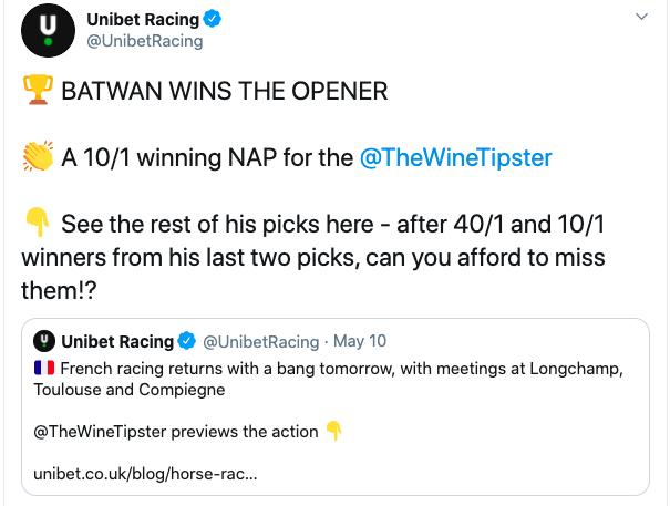 Racing Tweet 1