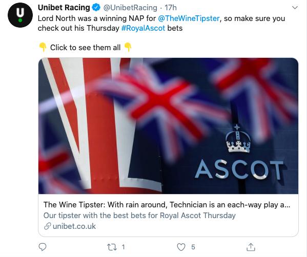 Unibet winning nap Wed Ascot