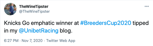 Breeder's cup win 2020