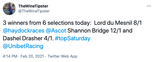 Ascot haydock feb 2021 winners
