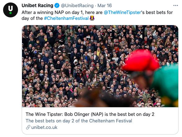 unibet chelt fest day 1 wins