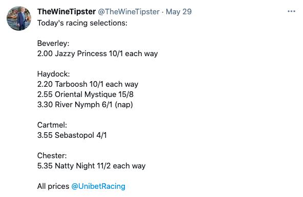 May 29 racing selections