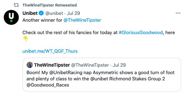 Unibet goodwood win