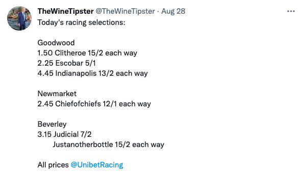 Racing selections Aug 28